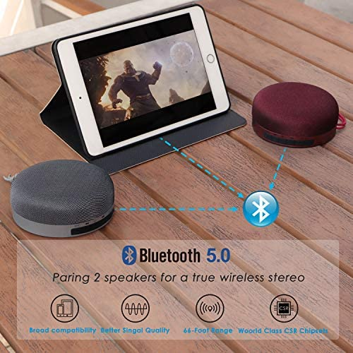 Premium Small Portable Wireless Bluetooth Speaker for iPhone Phone Tablet Party- Travel Case Included IPX5 Waterproof Speaker 15H Music Burgundy Color Soundnova N1 8W 3D Bass Shower Speaker