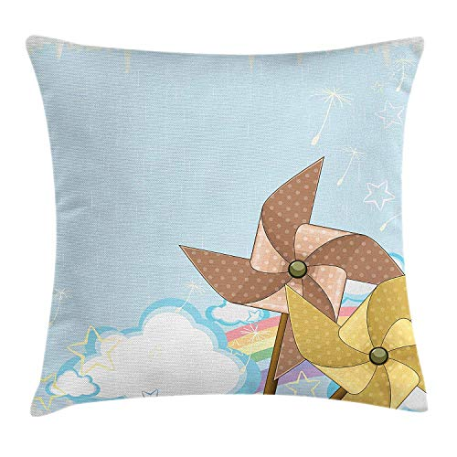 MHKLTA Vintage Rainbow Throw Pillow Cushion Cover, Fantastic Blue Sky with Clouds Stars Dandelion Seeds and Two Pinwheels, Decorative Square Accent Pillow Case, 18 X 18 inches, ()