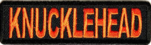 Knucklehead Patch - 3.5x1 inch. Embroidered Iron on Patch (Knucklehead Leather Jackets)
