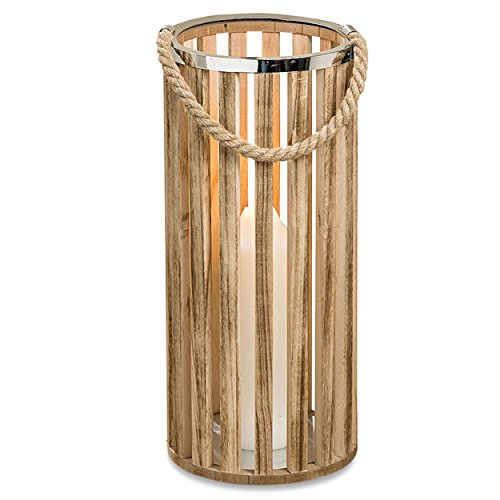 Whole House Worlds The Key West Tropical Hurricane Floor Lantern, Rope Handles, Tall, Cylinder, Sustainable Wood and Metal, 7 D x 15 3/4 H Inches, For LED Candles, Umbrella Stand, ()