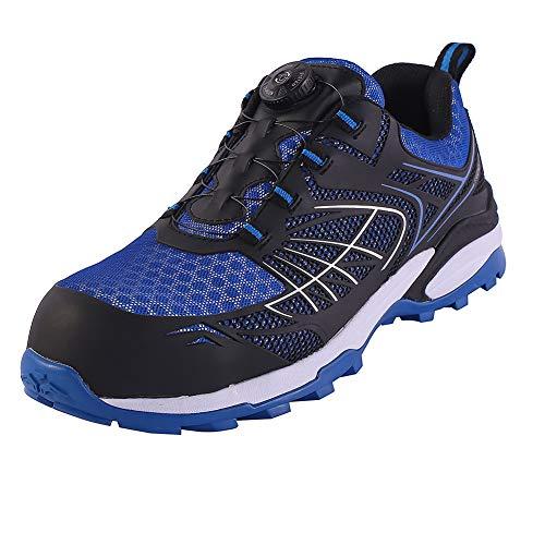 Arkeen Mens Work Safety Shoes Steel Toe, Industrial Construction Boots Waterproof Sneaker,Blue Size 8.5