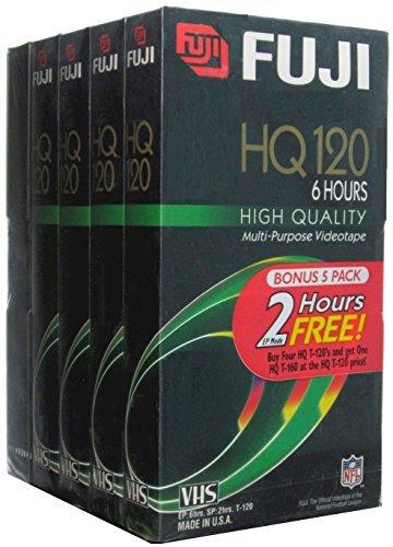 Fuji VHS Videocassettes, Bonus 5 Pack (4 HQ 120 and 1 HQ 160)