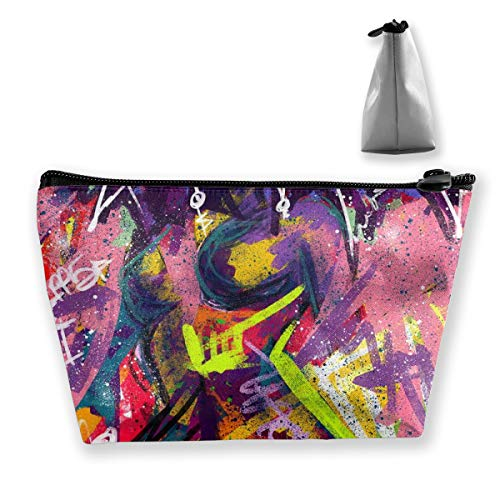 MODREACH Travel Makeup Bag Afro Lady African American Black Women Girls Trippy Graffiti Art Makeup Pouch Toiletry Storage Clutch Organizer with Zipper for Women & Men
