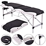 3 Section Professional Portable Massage Table Bed, Adjustable Massage for Salon Beauty Physiotherapy Facial SPA Tattoo Household (black)