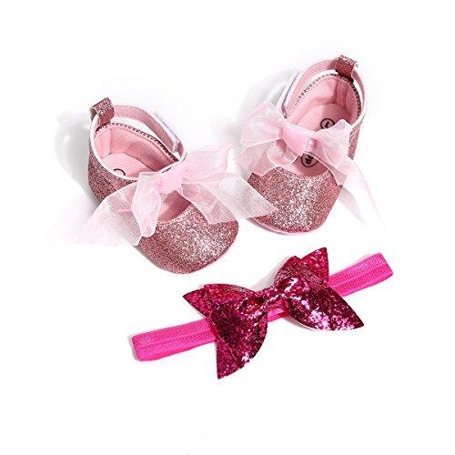 (Kuner Baby Girl Christening Baptism Toddler Shoes Dance Ballerina Slipper with Bow Ribbon (Size1-Shoes length-11cm(0-6months), Pink))
