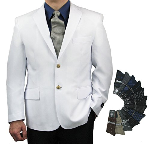 Men's Classic Fit Single-Breasted 2-Button Blazer Jacket Sports Coat w/one Pair Dress Socks (Variety Colors) - White 48R ()