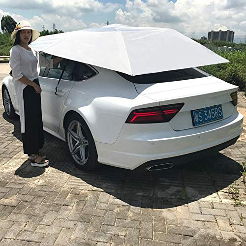 Florencenid Half Automatic Awning Tent Car Cover Outdoor Waterproof Folded Portable Car Canopy Cover Anti-UV Sun Shelter Car Roof Tent