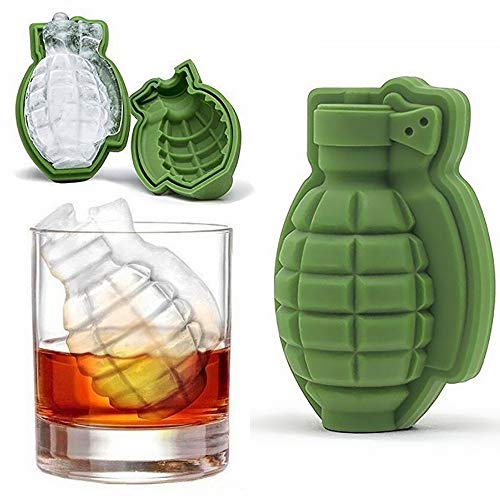 JZK 4 x Silicone 3D grenade shape ice cube mold cake tray moulds ice moulds silicone for whiskey scotch cocktails coffee fruit juice and soda pop