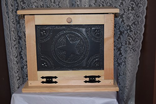 Unfinished Amish made breadbox with tin punched door