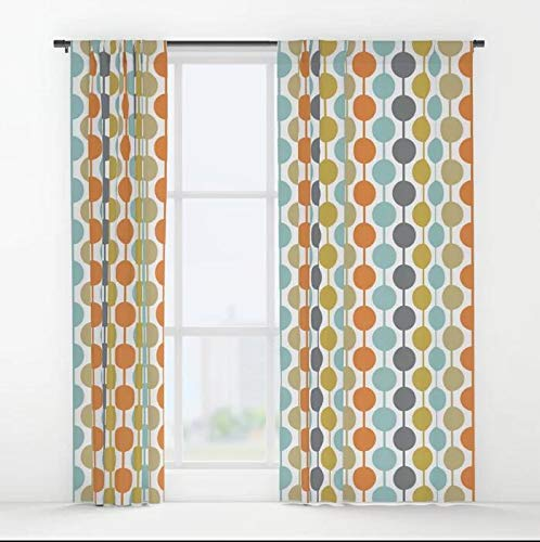 XicoLtd Retro Circles Mid Century Modern Background Window Curtains Window Drapes Blackout Curtains Panels for Bedroom,Home,Set of 2,84x55 -