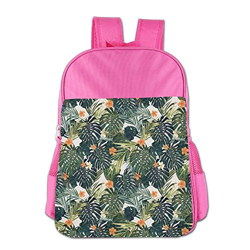 Mokjeiij Botanic Tropic Leaves And Flowers Hawaiian Summer Plants Illustration Unisex Girls Boys School Backpack Children's