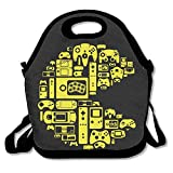Retro Video Game Themed Lunch Tote Bag Portable Handbag Lunch Box Waterproof Insulated Food Container For Women,Boys,Girls School Picnic Office Travel Outdoor