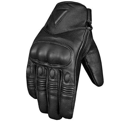 - Men's Premium Leather Protective Cruiser Street Motorcycle Biker Gel Gloves XL