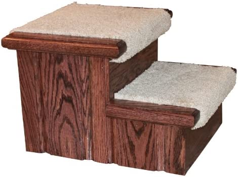 Premier Pet Steps Tall Raised Panel Dog Steps, Carpeted Tread with a Rich Cherry Stain, 12-Inch