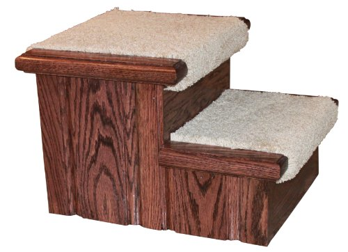 Rich Cherry Finished Solid Oak Step Stool With Carpeted Tread 11 ½'' Tall by Premier Pet Steps