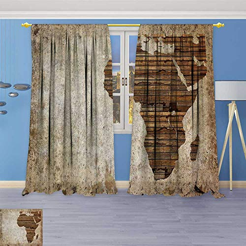 Leigh-home Room Darkening Wide Curtains Vintage Wooden Plank Africa map Customized Curtains 96W x 84L Inch