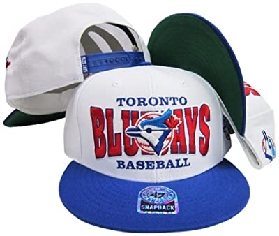 Toronto Blue Jays White/Blue Two Tone Plastic Snapback Adjustable Snap Back Hat/Cap
