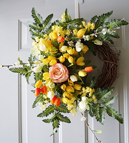 Spring Wreath Yellow White Tulips Roses Cherry Blossom Door Wreath 24 in Ready to Ship-New Arrivals