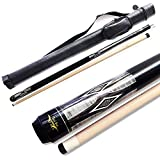 "TaiBA 2-Piece Pool Stick With 1x1 Case,13mm Tip, 58"", Hardwood Canadian Maple Professional Billiard Pool Cue Stick 19-22 Oz (Selectable)-Blue, Black, Red, Gray, Green, Brown"