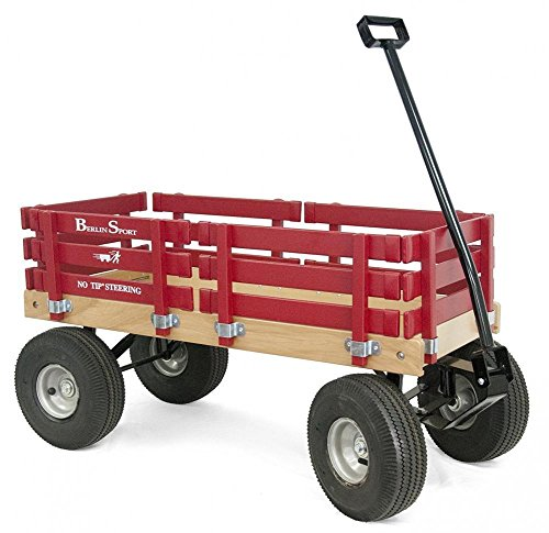 Wood Wagon Red Rubber Tires No Pinch Handle No Tip Steering Kids Toy Outdoor New, Rocket Science Toys, (Berlin Sport Wagon)