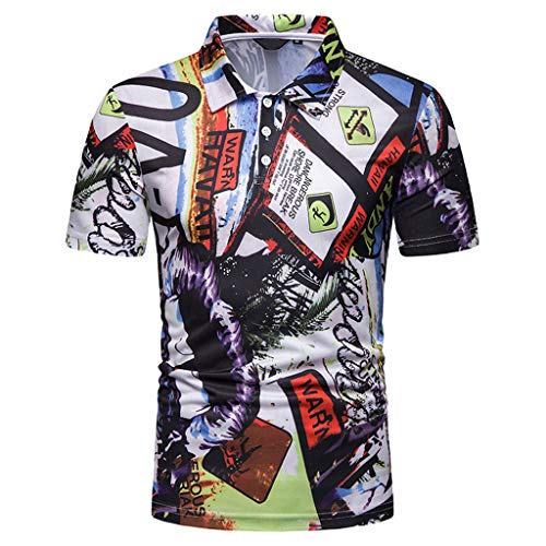 refulgence Men's Lapel Neck Hawaiian Short Sleeve Shirt Painting Large Size Casual Top Blouse -