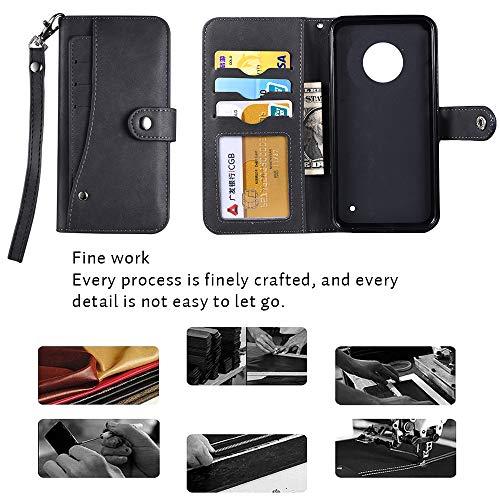 Moto G6 Plus Case,Moto G6 Plus Wallect Case, Flip Leather Case 5 Cards / 1 Photo Slot/Cash Pocket PU Cover with Wrist Strap [Wallet Stand] Phone Case for Moto G6 Plus (Black) by okasis (Image #5)