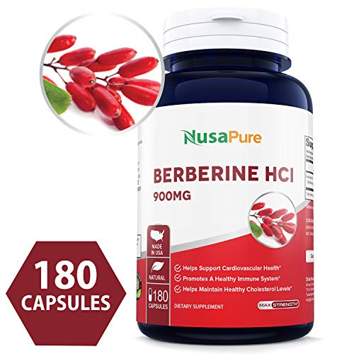 Best Berberine HCI 900mg 180caps (Non-GMO & Gluten Free) Supports Healthy Blood Sugar Levels & Metabolism, Improves Immunity & Digestion - Made in USA - 100% Money Back Guarantee!