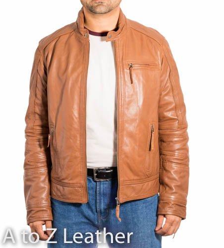 con cuero de con Zipp y cremallera Cuello hombre motera detalles chaqueta de qIw41