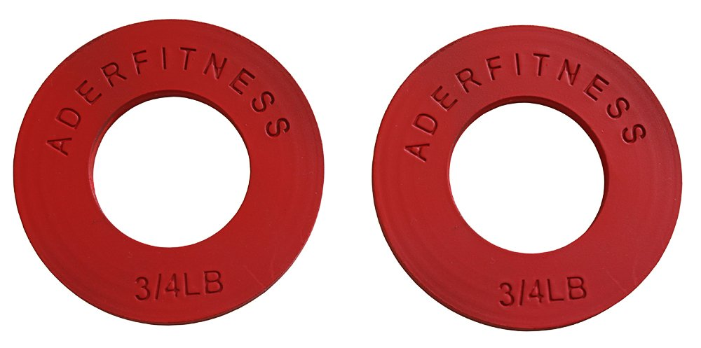 Ader Olympic Fractional Plates 3/4 Lb Red Sold as Pair. by Ader Sporting Goods