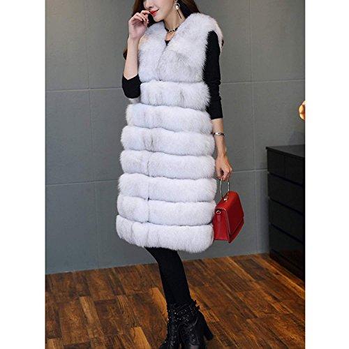 ' Womens Foxcolor Inverno Lungo Cappotto Stile Faux Di Folobe Vest Caldo Pelliccia U5wHdUqS