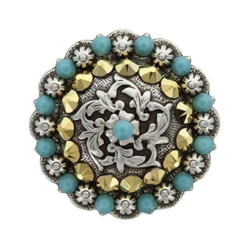 - Coloma Antique Silver Swarovski Rhinestone Crystal Berry Concho - Turquoise Aurum - 1-1/4