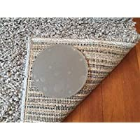 Sticky Discs non-slip rug pads for rug on floor anti-slip. Rug stickers - no residue. 4 pack. Limits small rugs/exercise/door mats from moving on floors.