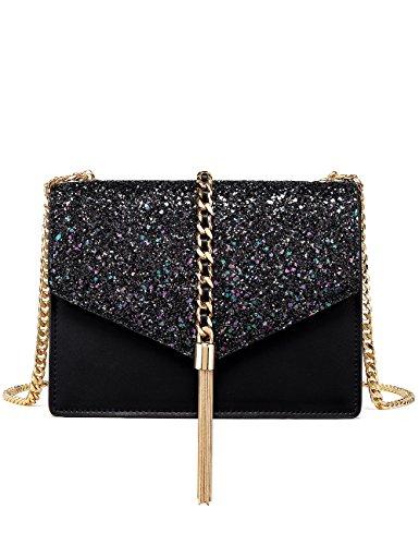 LA'FESTIN Fringed Shoulder Bags for Women Elegant Black Leather & Glitter Tassel Side Purse with Long Chain Strap ()