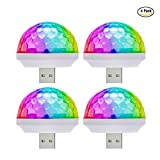 USB Disco Ball Party Light MINI Portable Strobe Lights for Kid's Birthday Parties Stage DJ Lighting Christmas Disco Decorations (4-Pack)
