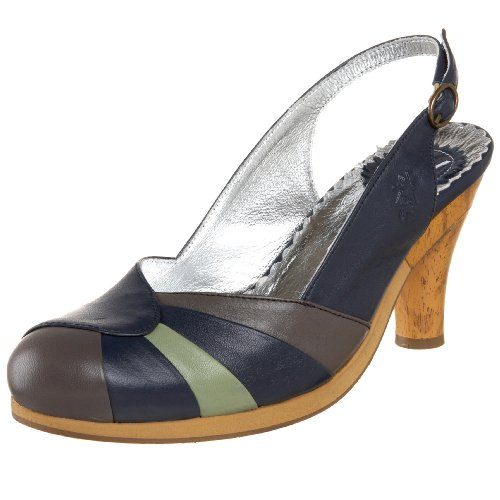 Fly London Mujer's Noy Slingback Pump Azul / Gris / Lima