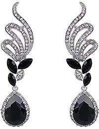 Women's Elegant Crystal Wedding Bridal Vine Leaf Teardrop Dangle Earrings Silver-Tone