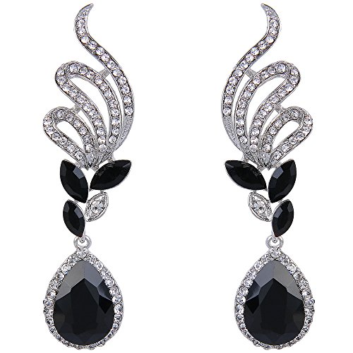 Silver Tone White Earrings - BriLove Women's Elegant Crystal Wedding Bridal Vine Leaf Teardrop Dangle Earrings Silver-Tone Black
