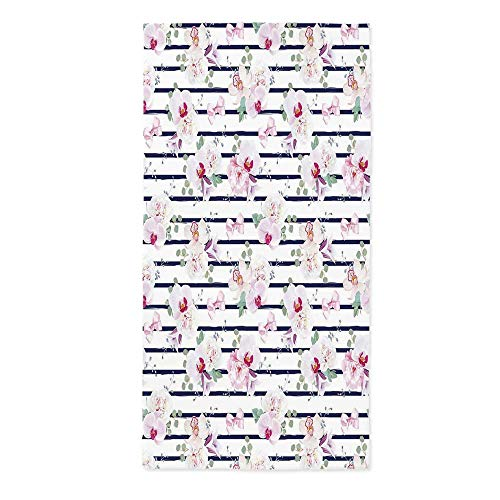 Navy and Blush Waterproof Tablecloth,Spring Bouquets on Stripes Orchid Peony Bell Flowers Feminine Decorative for Dining Table Tea Table Desk Secretaire,20.1''W X 40.2''L