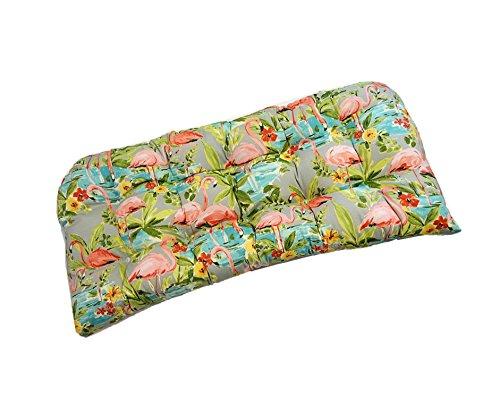 Indoor / Outdoor Cushion for Wicker Loveseat Settee - Waverly Elegant Tropical Platinum Flamingo - Grey, Aqua, Green, Coral (Flamingo Coral)