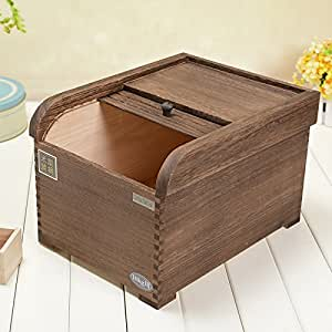 10kg Tong wood m barrels, rice boxes, rice barrel, rice flour barrels, storage box, insect-resistant damp-proof rice barrel , brown (rolling door 10 kg storage box)