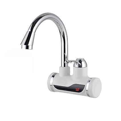 H&RB Tanque Eléctrico Calentador De Agua Caliente Grifo Cocina Calefacción Grifo De Agua con Pantalla LED