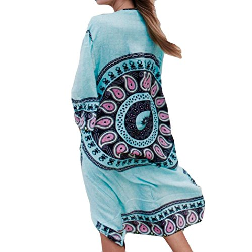 Convinced Women Swimwear Cover Up Summer Chiffon Bathing SuitBeach Blouse Top (XL, Sky (Terry Beach Dress)