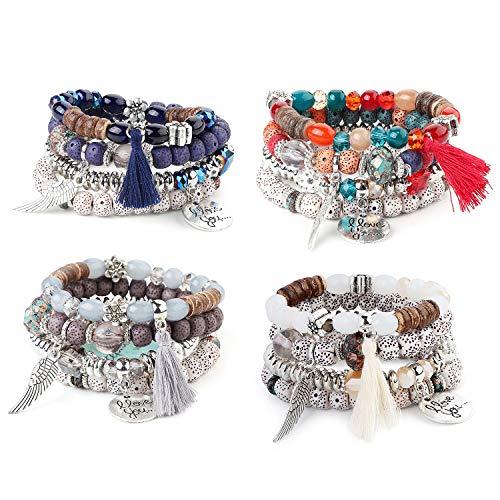 (Finrezio 4 Sets Bohemian Beaded Bracelets for Women Girls Multilayer Stretch Stackable Tassel Wing Love Heart Bracelet Set Multicolor Jewelry)