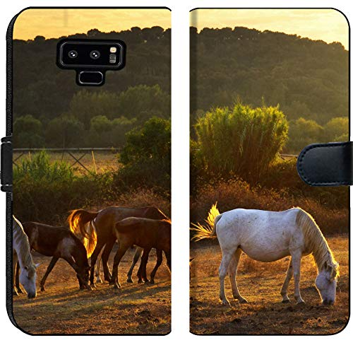 Samsung Galaxy Note 9 Flip Fabric Wallet Case Image ID: 10987653 White and Brown Horses pasturing in The Countryside at Sunset