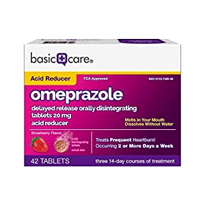 Basic Care Omeprazole Delayed Release Orally Disintegrating Tablets, 20 mg, Acid Reducer, Strawberry Flavor, 14 Count