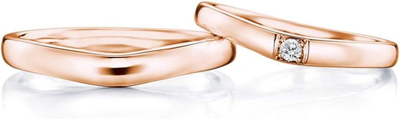 Epinki Anillo Oro Rosa 18k Forma V Diamante 0.08ct Anillo de Compromiso para Parejas