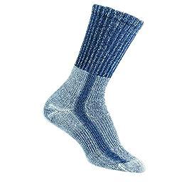Thorlos Womens Lite Hiking Moderate Padded Crew Socks | LTHW, Medium 10, Slate Blue, Women\'s Shoe Size 7-9