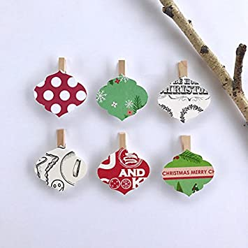ornament clothespins christmas decoration kit paper cutouts holiday party favors gift tag party clips card holder