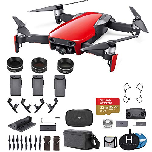 DJI Mavic Air Fly More Combo (Flame Red) Ultimate Bundle - 3 Batteries, 32 GB Extreme Card, Landing Pad, Landing Gear and More