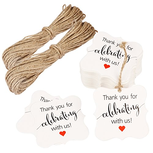 FASOTY Personalized Wedding Tags 100 PCS Thank You for Celebrating with Us Paper Gift Tags Square Tags with 2 Bundles of 10 m Natural Jute Twine Rope Perfect for Bridal Baby Anniversary (White)